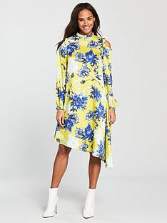 v-by-very-unique-asymmetricnbspprinted-frill-dress-yellow