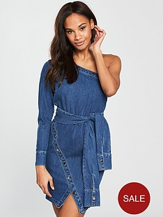 v-by-very-unique-one-shoulder-tie-front-denim-dress