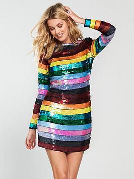 v-by-very-unique-stripe-sequin-mini-dress-multi