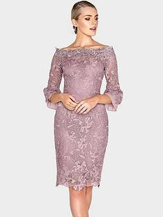 paper-dolls-crochet-lace-chiffon-flute-sleeve-bardot-dress-mink