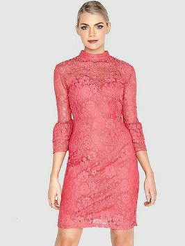 paper-dolls-soft-lace-high-neck-fluted-sleeve-dress-coral-pinknbsp