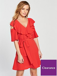 lost-ink-petite-cold-shoulder-tie-waist-fit-and-flare-tea-dress-red
