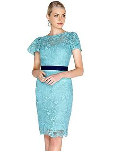 paper-dolls-crochet-lace-fluted-sleeve-contrast-waist-dress