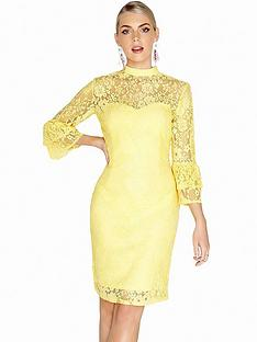 paper-dolls-tiered-fluted-sleeve-high-neck-lace-dress