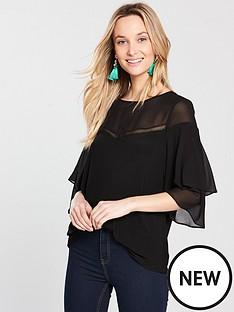wallis-ladder-trim-sheer-sleeve-top-black