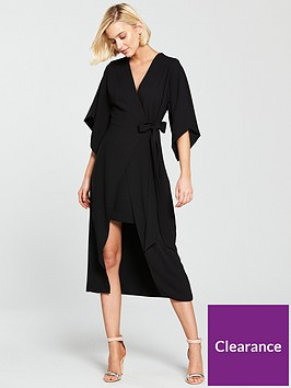 river-island-tie-waist-v-neck-midi-dress--black