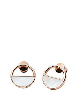 skagen-skagen-ladies-rose-gold-steel-mother-of-pearl-stud-earrings
