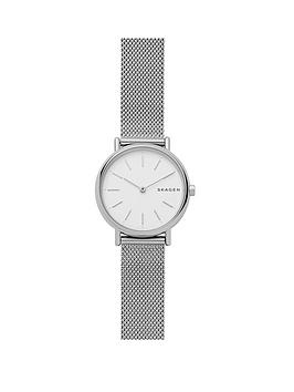 skagen-signatur-stainless-steel-mesh-bracelet-white-dial-ladies-watch