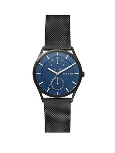 skagen-skagen-mens-watch-black-ip-stainless-steel-mesh-bracelet-with-blue-multifunction-dial