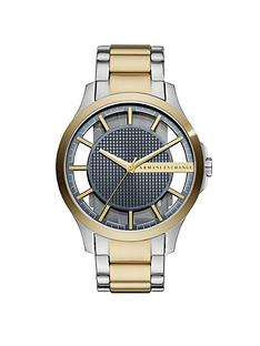 armani-exchange-two-tone-stainless-steel-case-skeleton-blue-textured-dial-bracelet-mens-watch