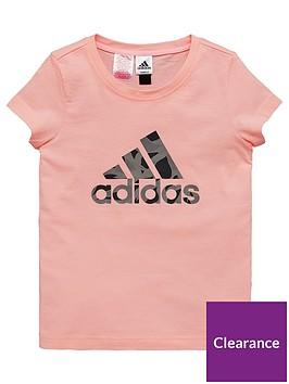 adidas-girls-logo-tee-coralnbsp