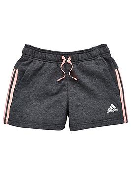 adidas-girls-three-stripe-short-dark-grey-heathernbsp