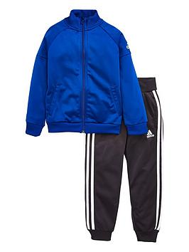 adidas-younger-boys-knit-tracksuit-blueblacknbsp