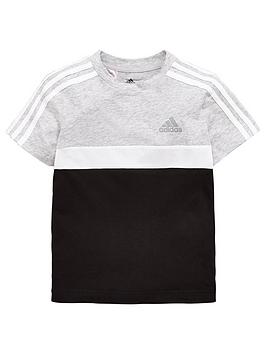 adidas-younger-boys-cotton-tee-grey-heathernbsp