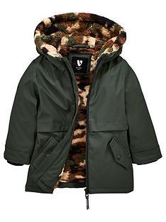 mini-v-by-very-boys-long-line-rubber-camouflagenbspfleece-lined-coat-khaki