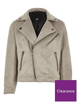 3f0f121d3 River Island Boys light grey faux suede biker jacket