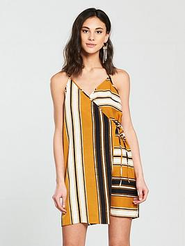 river-island-river-island-stripe-wrap-cami-dress--yellow