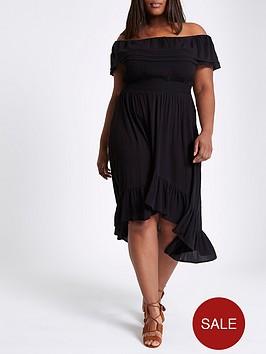 ri-plus-high-low-frill-hem-maxi-dress-black