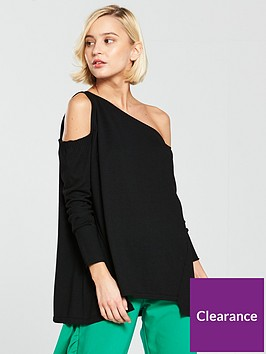river-island-asymmetric-one-shoulder-knitted-top-black