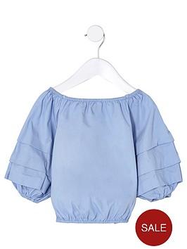 river-island-mini-mini-girls-blue-balloon-sleeve-top