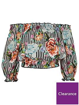 river-island-girls-white-floral-stripe-bardot-top