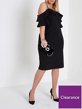 ri-plus-frill-cold-shoulder-bodycon-dress-black