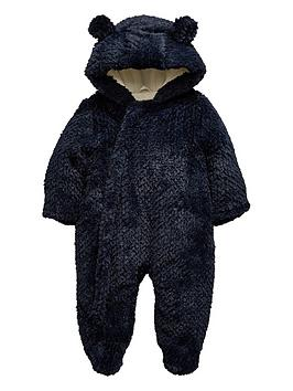 mini-v-by-very-baby-boys-textured-faux-fur-cuddle-suit-with-integral-mitts-navy