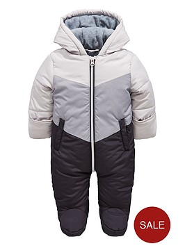 2abee6c21 Mini V by Very Baby Colour Block Snowsuit with Integral Mitts ...