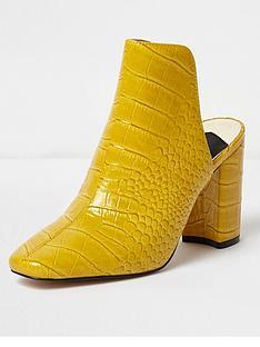 river-island-croc-block-heel-mule-yellow