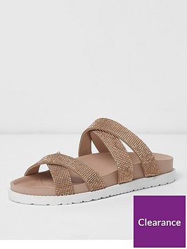 river-island-river-island-wide-fit-diamante-cross-strap-slides--gold