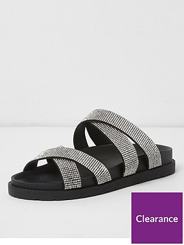 river-island-river-island-wide-fit-diamante-cross-strap-slides--black