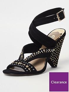 river-island-stud-embellished-cone-heel-sandal-black