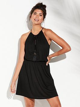 53e05a388b V by Very Shirred Waist Jersey Beach Dress - Black