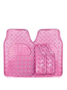 streetwize-accessories-think-pink-4pce-checker-mat-set