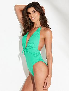 v-by-very-deep-plunge-tie-waist-swimsuit-green