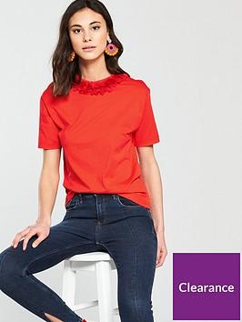 river-island-flower-neck-t-shirt--red
