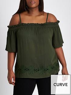 ri-plus-cold-shoulder-blouse--khaki
