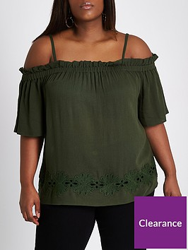 ri-plus-cold-shoulder-blouse--khaki