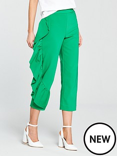 river-island-frill-leg-trousers--green