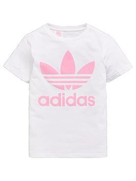 108b8c2e6a09e adidas Originals Girls Trefoil Tee - White/Pink | littlewoods.com