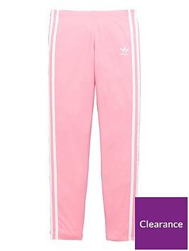 34a3d67aa adidas Originals Girls 3 Stripe Leggings - Pink | littlewoods.com