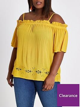 ri-plus-cold-shoulder-blouse--ochre