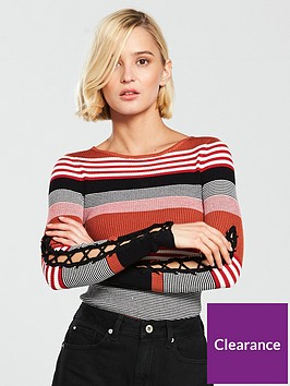 river-island-stripe-lace-up-sleeve-bodyconnbsptop-tan