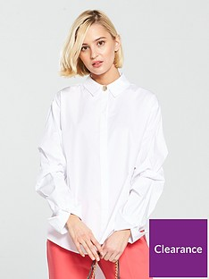 river-island-ruched-sleeve-shirt-white