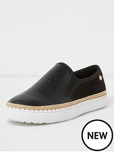 river-island-river-island-wide-fit-slip-on-plimsoll--black