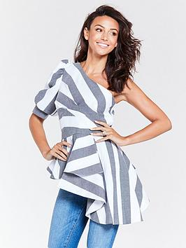 michelle-keegan-one-shoulder-blouse-stripe