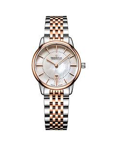 dreyfuss-co-1980-white-mother-of-pearl-index-date-dial-two-tone-rose-gold-stainless-steel-strap-ladies-watch