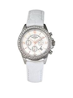 rotary-chronograph-and-stone-set-dial-with-white-leather-strap-ladies-watch