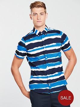 tommy-hilfiger-slim-striped-short-sleeve-shirt-blue