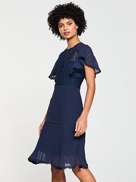 v-by-very-pleated-lace-frill-hem-dress-navy
